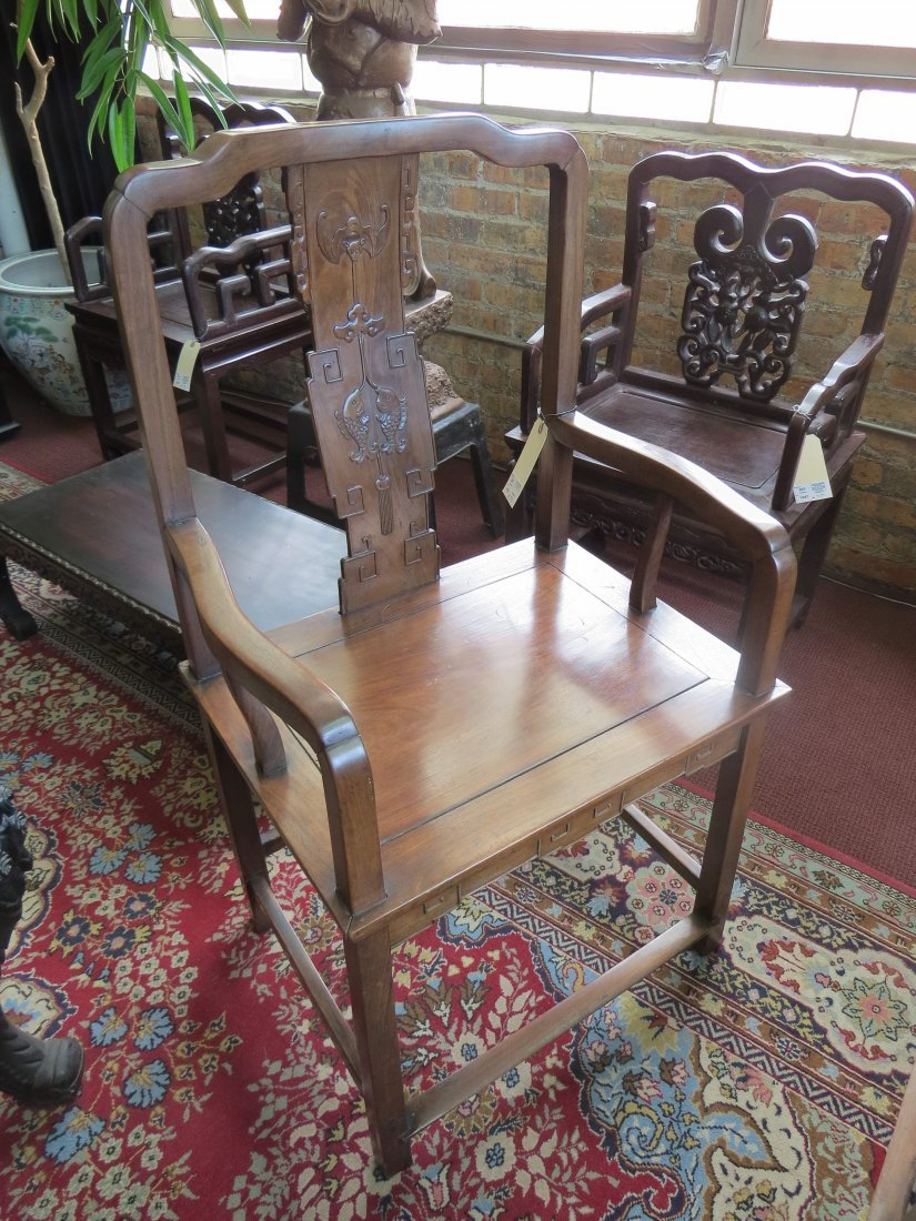 A Pair of Chinese Hardwood Palace Chairs. - 9