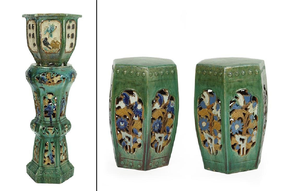 A Chinese Glazed Ceramic Jardiniere With Stand.