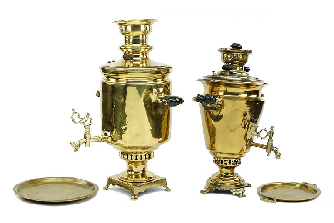 Two Russian Brass Samovars.