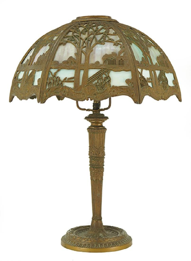 A Miller Lamp Co. Slag Glass Lamp.