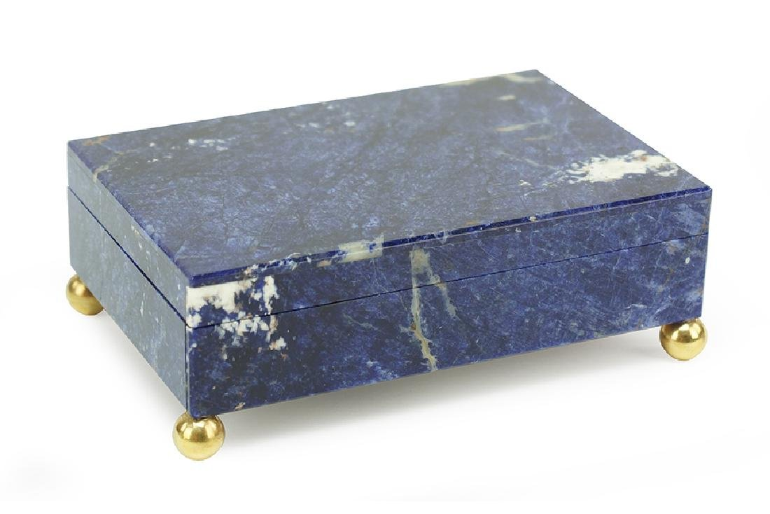 A Lapis And Onyx Box.