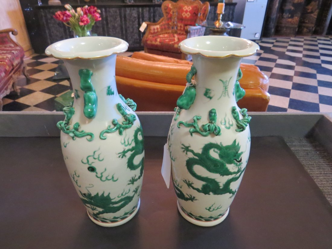 A Pair of Famille Verte Vases. - 2