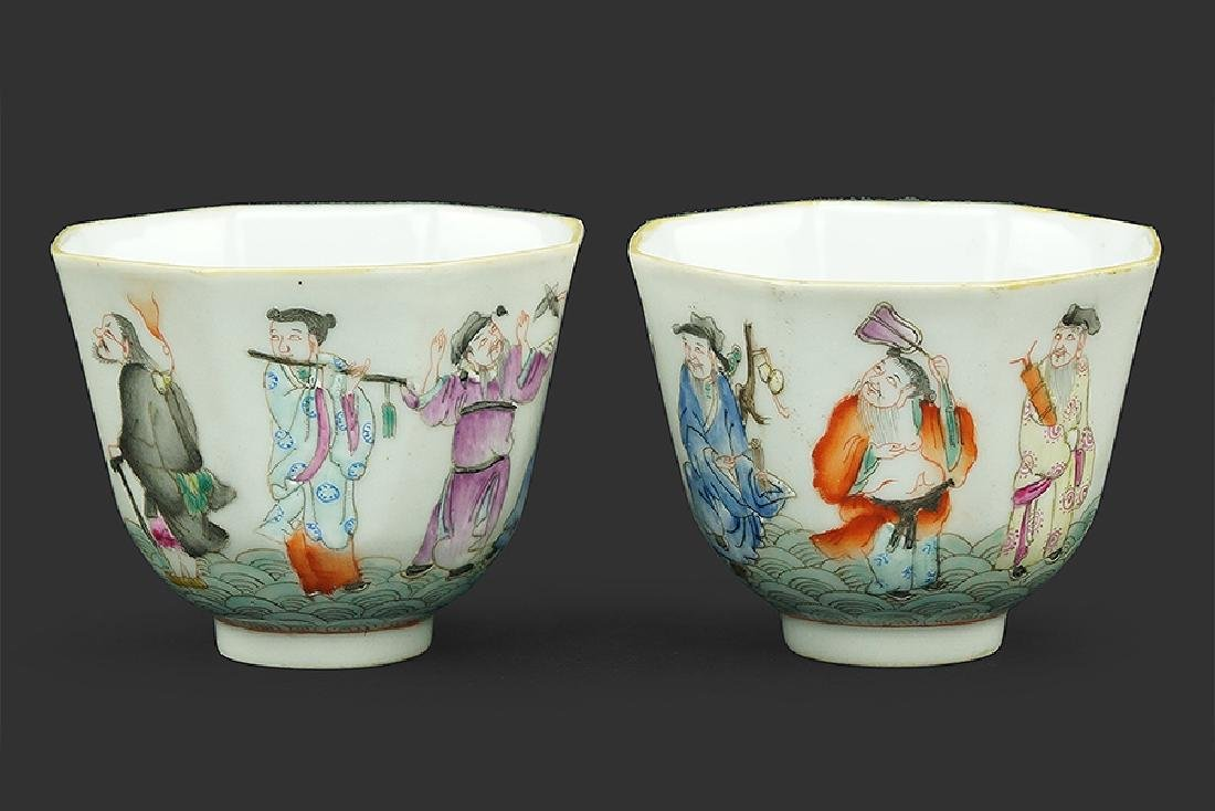 A Pair of Famille Rose Porcelain Wine Cups.