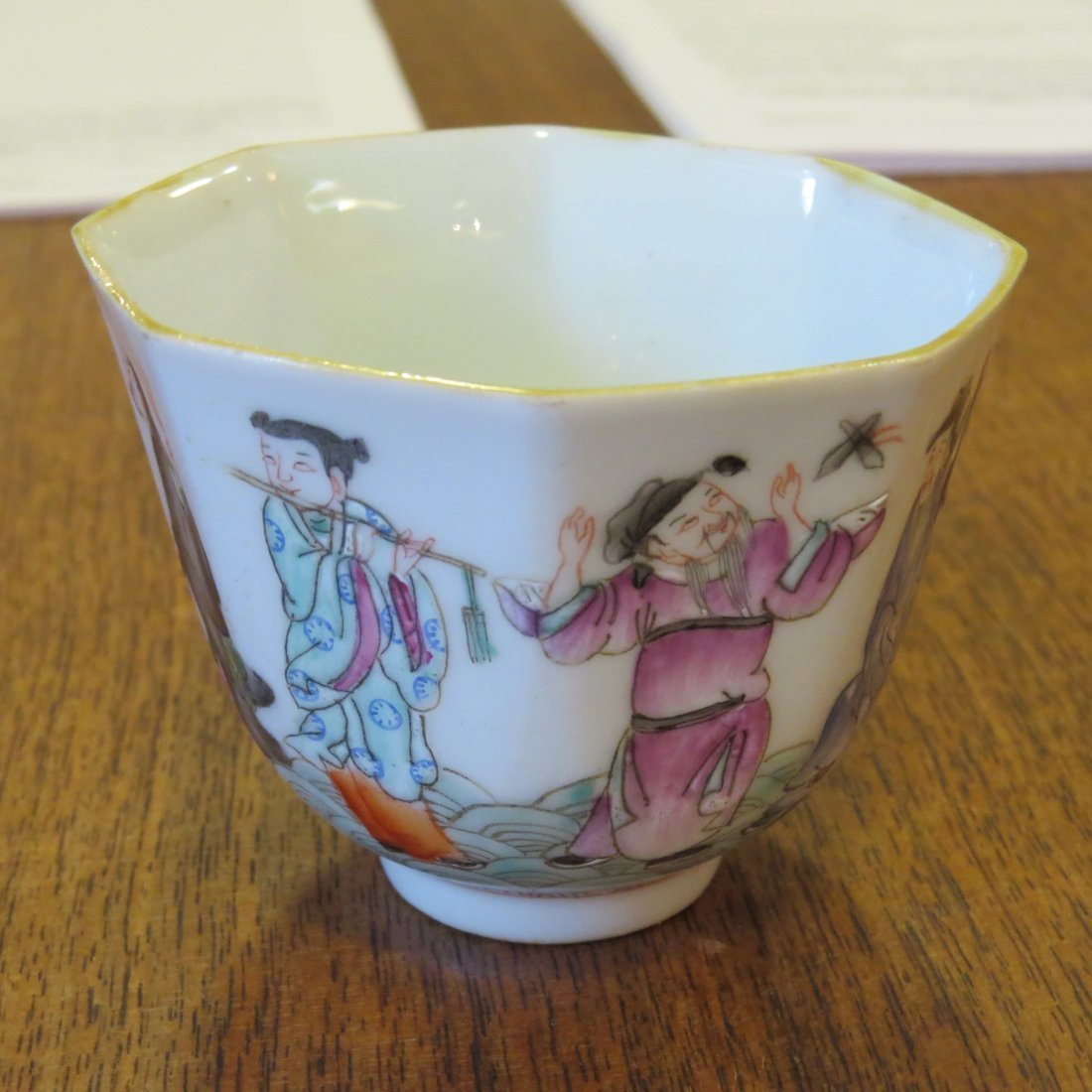 A Pair of Famille Rose Porcelain Wine Cups. - 5