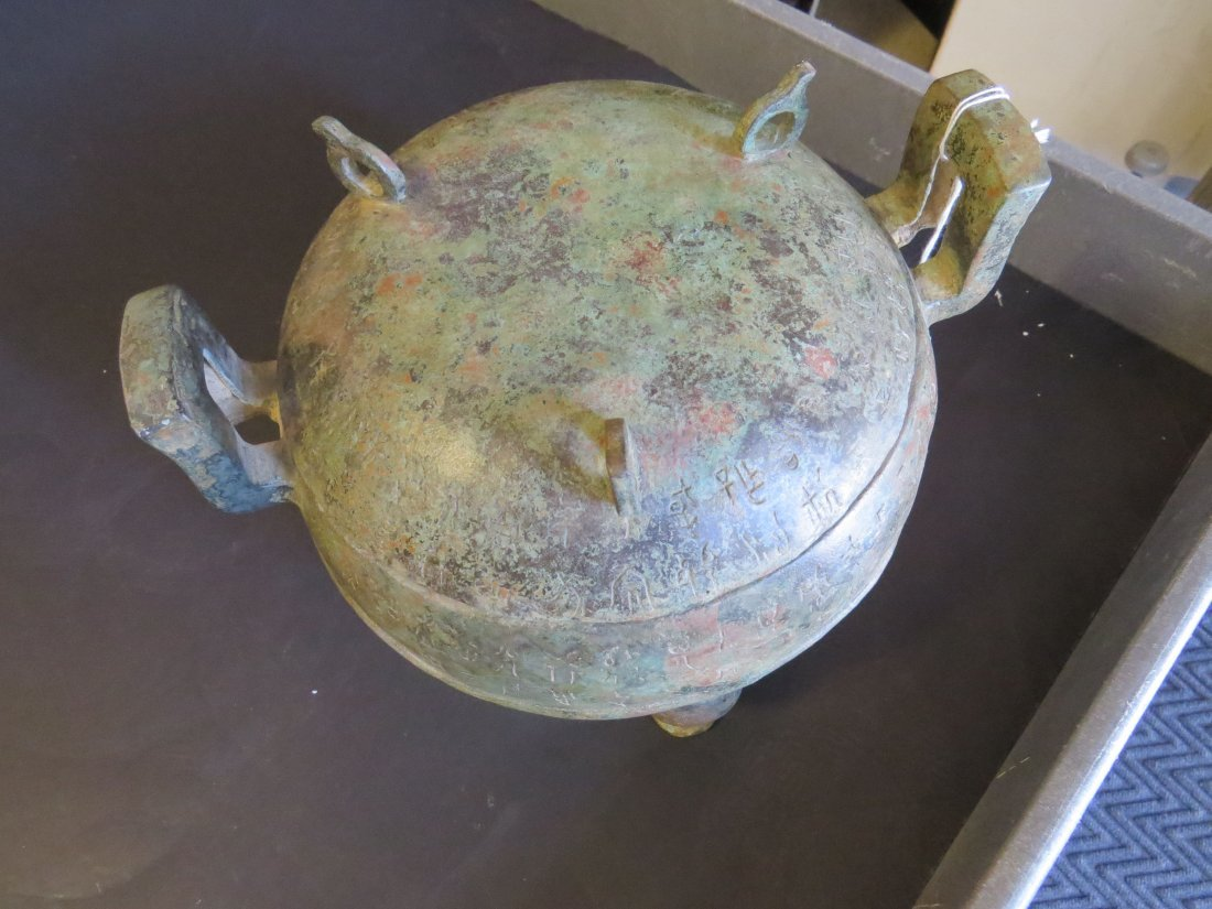 A Chinese Patinated Metal Ding Vessel. - 4
