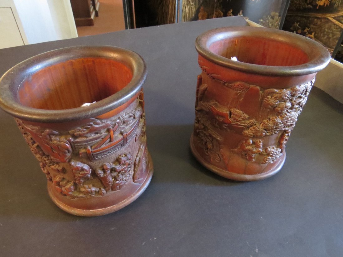 A Near Pair of Chinese Carved Bamboo Brush Pots. - 2