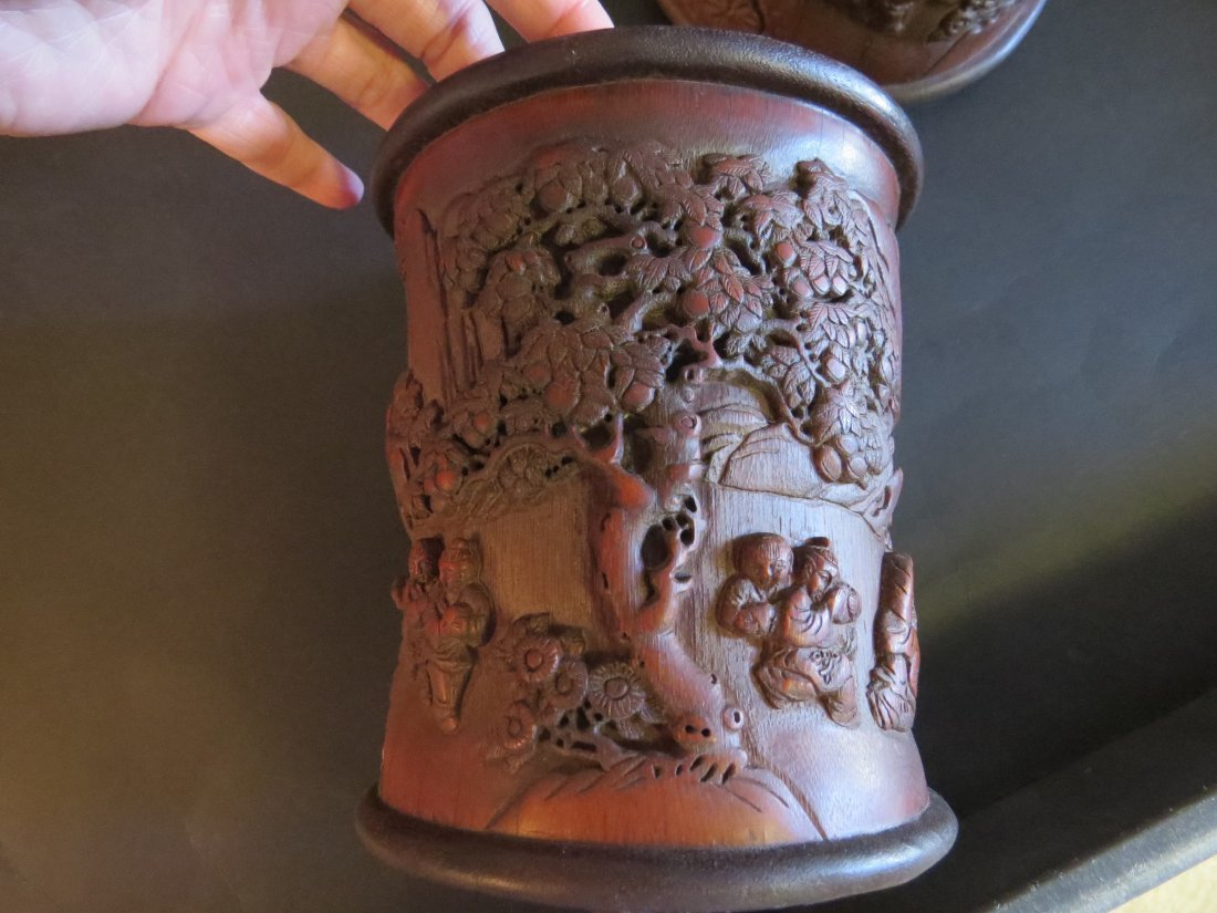 A Near Pair of Chinese Carved Bamboo Brush Pots. - 3