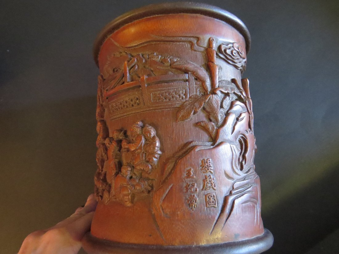 A Near Pair of Chinese Carved Bamboo Brush Pots. - 7
