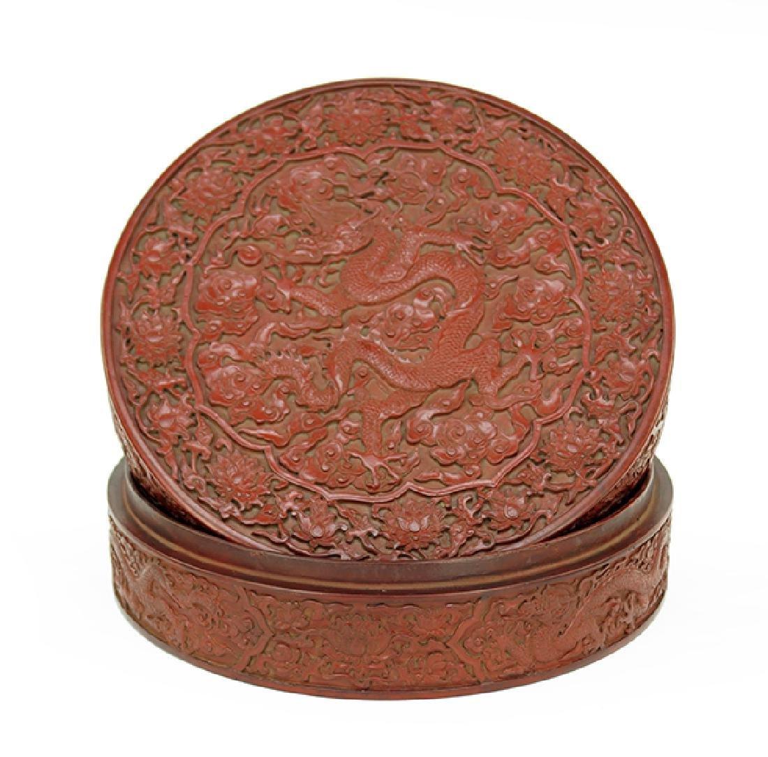 A Chinese Round Cinnabar Box.