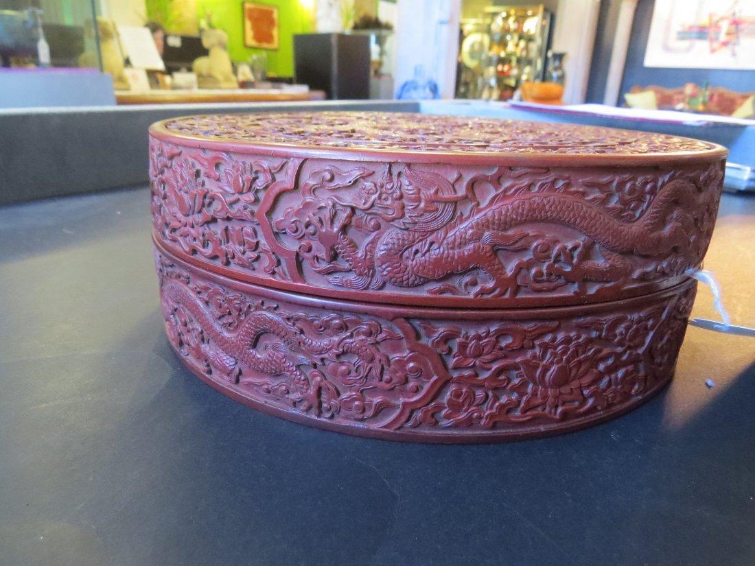 A Chinese Round Cinnabar Box. - 3
