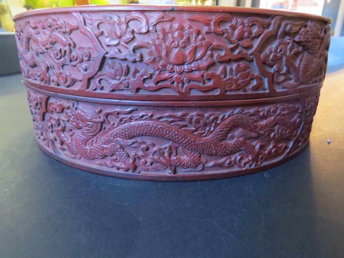 A Chinese Round Cinnabar Box. - 4