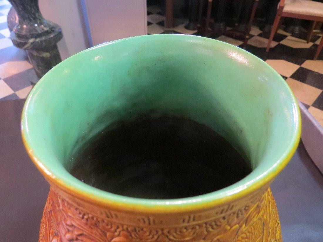 A Chinese Mustard Yellow Glazed Porcelain Hu Form Vase. - 3