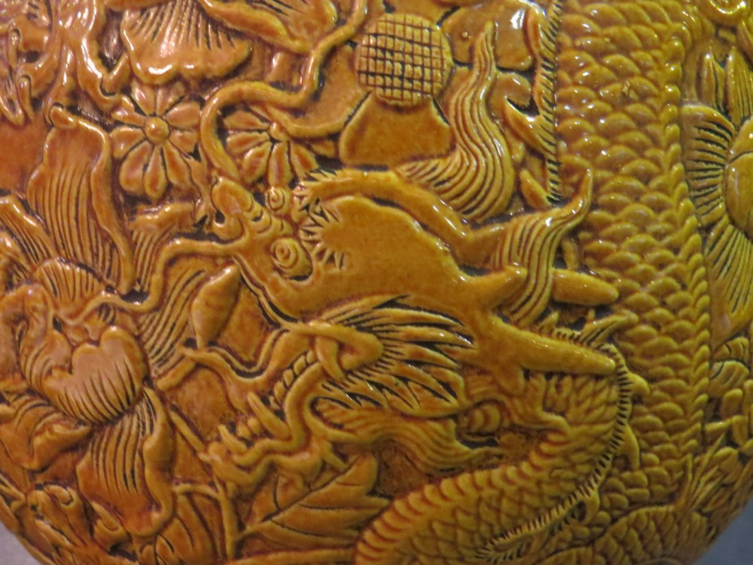 A Chinese Mustard Yellow Glazed Porcelain Hu Form Vase. - 4