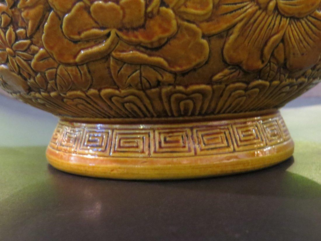 A Chinese Mustard Yellow Glazed Porcelain Hu Form Vase. - 5