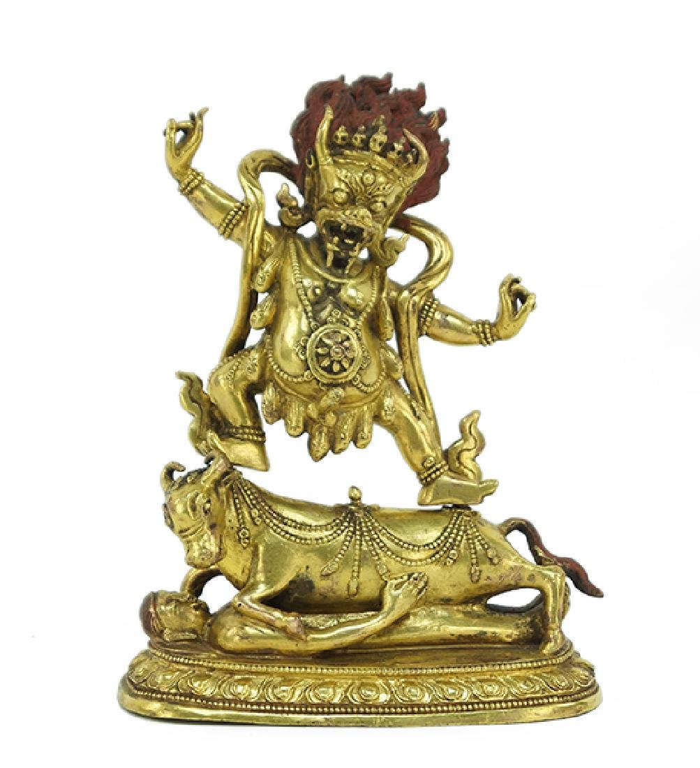 A Gilt Bronze Buddhist Figure of Yamantaka.