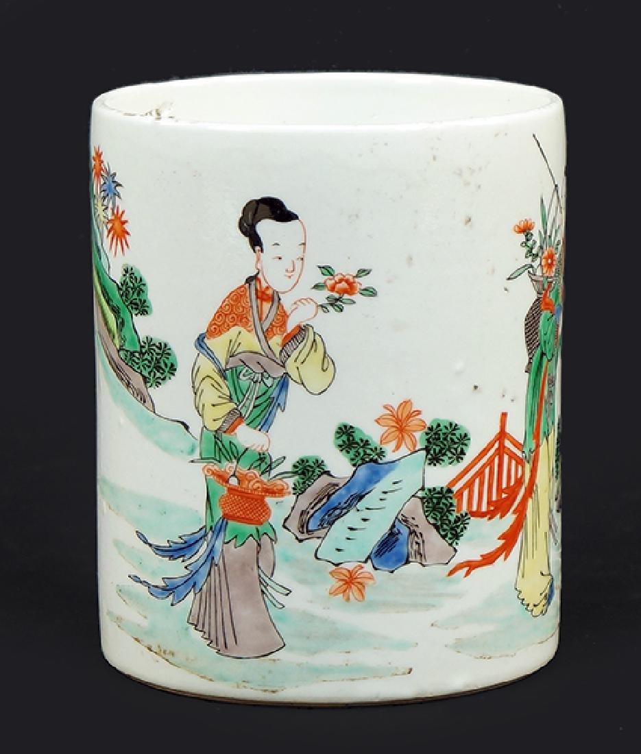 A Famille Verte Porcelain Brush Pot.