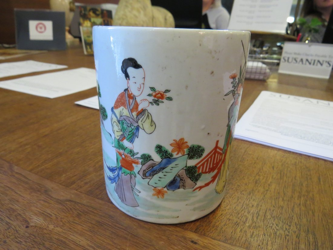 A Famille Verte Porcelain Brush Pot. - 2