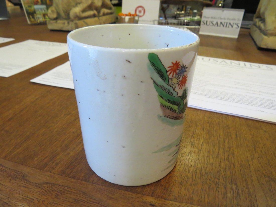 A Famille Verte Porcelain Brush Pot. - 4