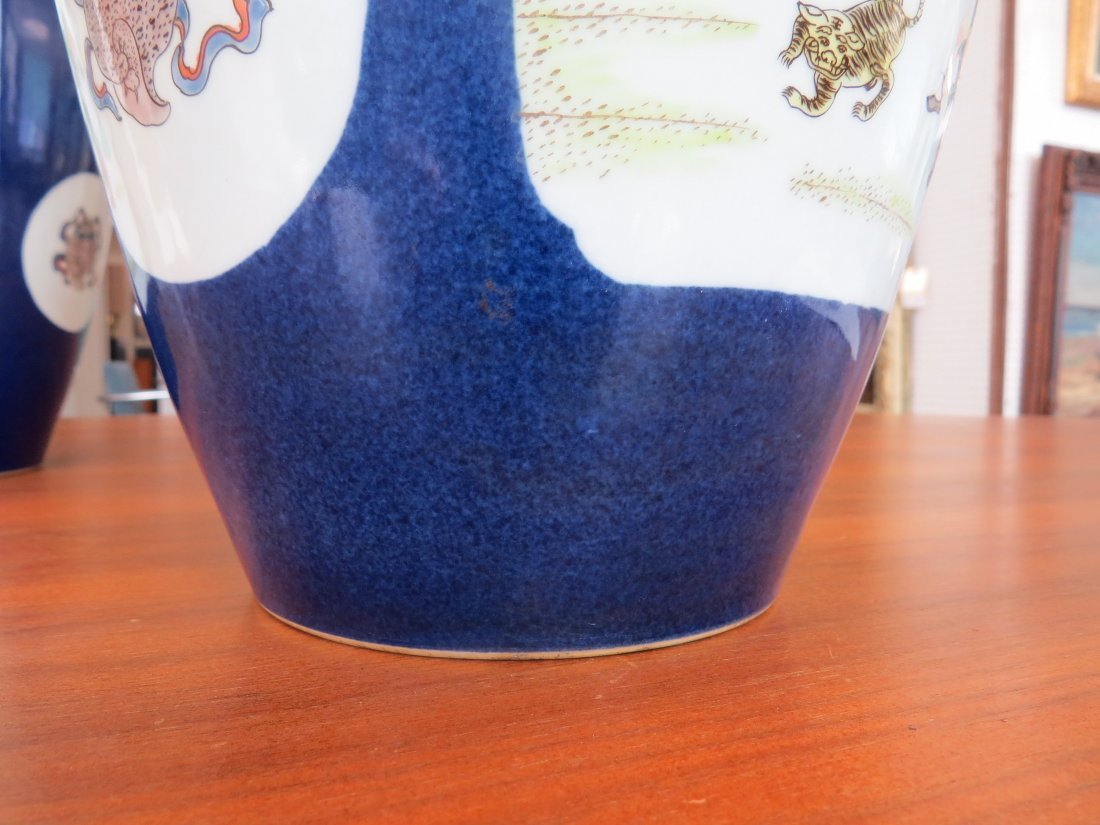 A Pair of Cobalt Ground Porcelain Baluster Vases. - 5