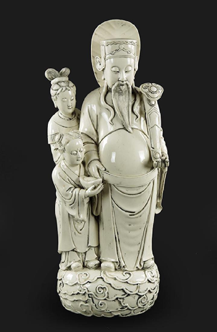 A Chinese Blanc de Chine Porcelain Figure of the God of