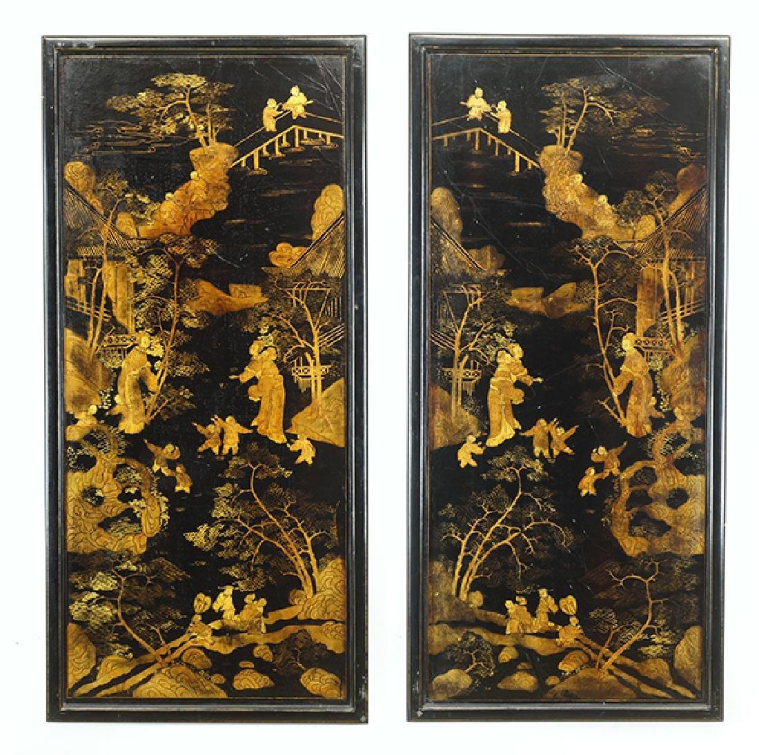Two Chinese Gilt and Ebonized Wood Panels.