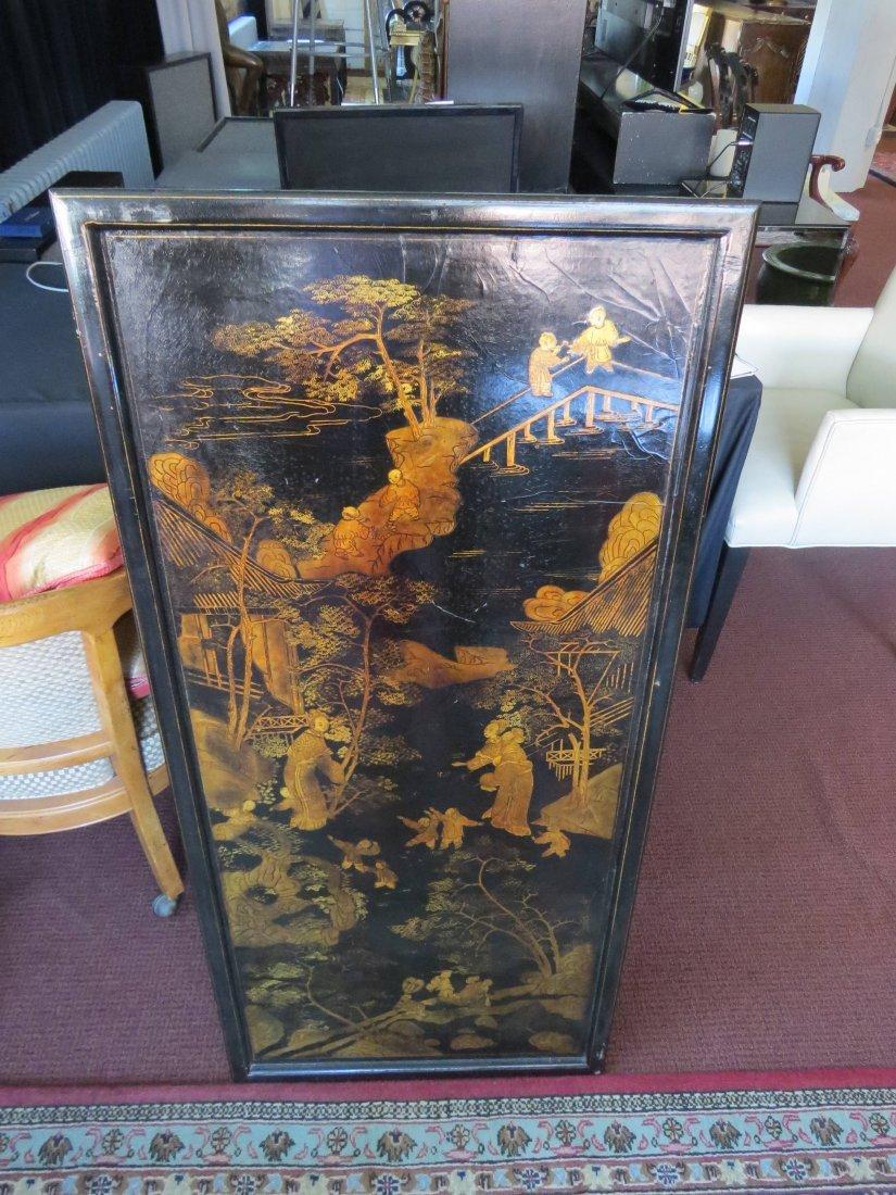 Two Chinese Gilt and Ebonized Wood Panels. - 2