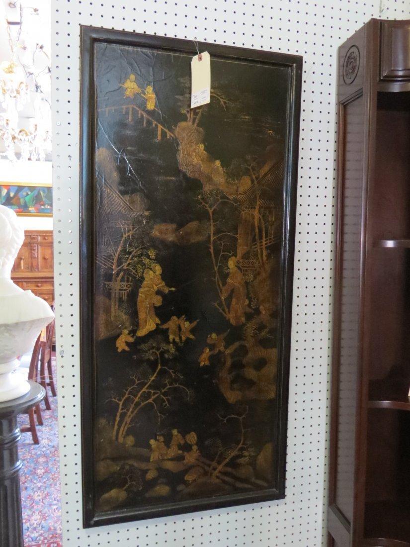 Two Chinese Gilt and Ebonized Wood Panels. - 6