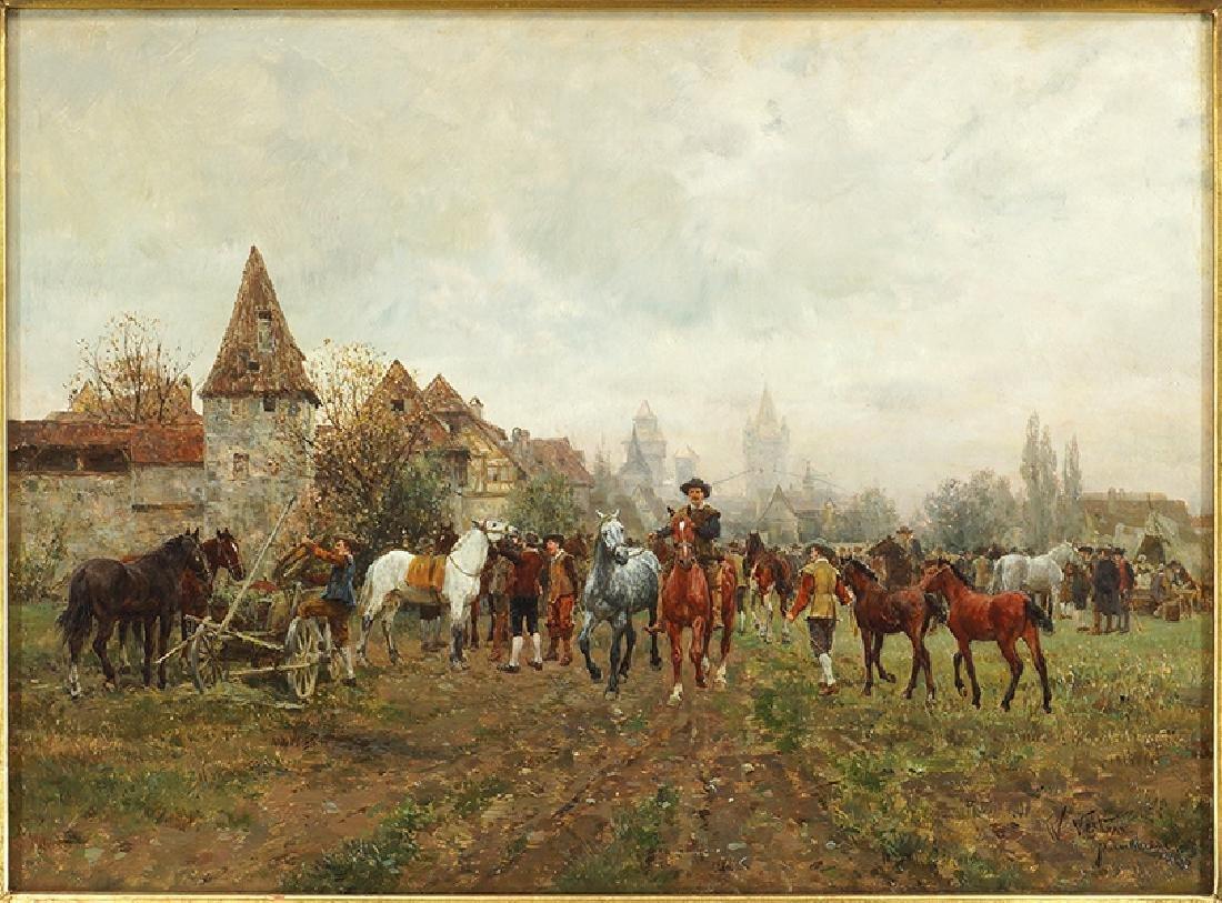 Wilhelm Velten (Russian, 1847-1929) German Horsefair.