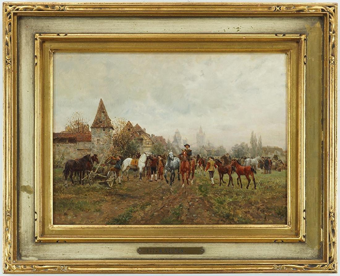 Wilhelm Velten (Russian, 1847-1929) German Horsefair. - 2