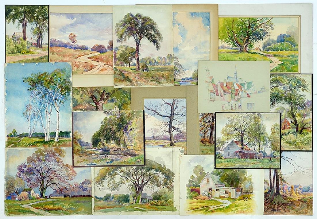 Carl Hibbeler (American, 20th Century) 17 Watercolors.