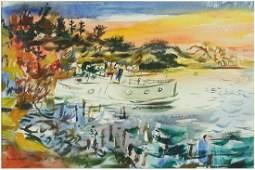 Francis Chapin (American, 1899-1965) Harbor Scene.