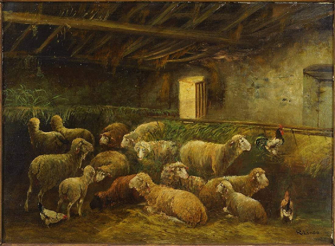 R. Linda (19th Century) Sheep in the Barn.