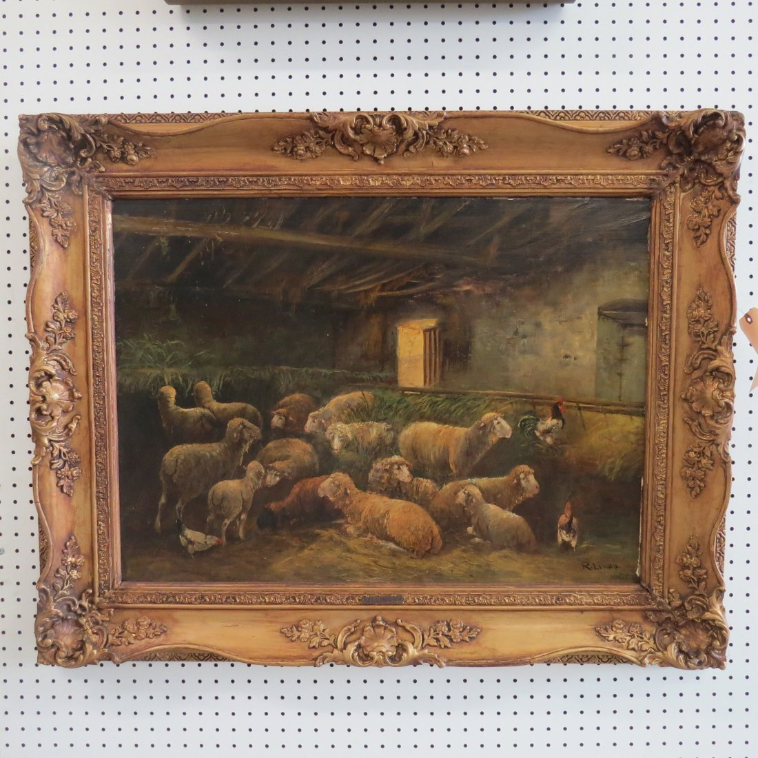 R. Linda (19th Century) Sheep in the Barn. - 2
