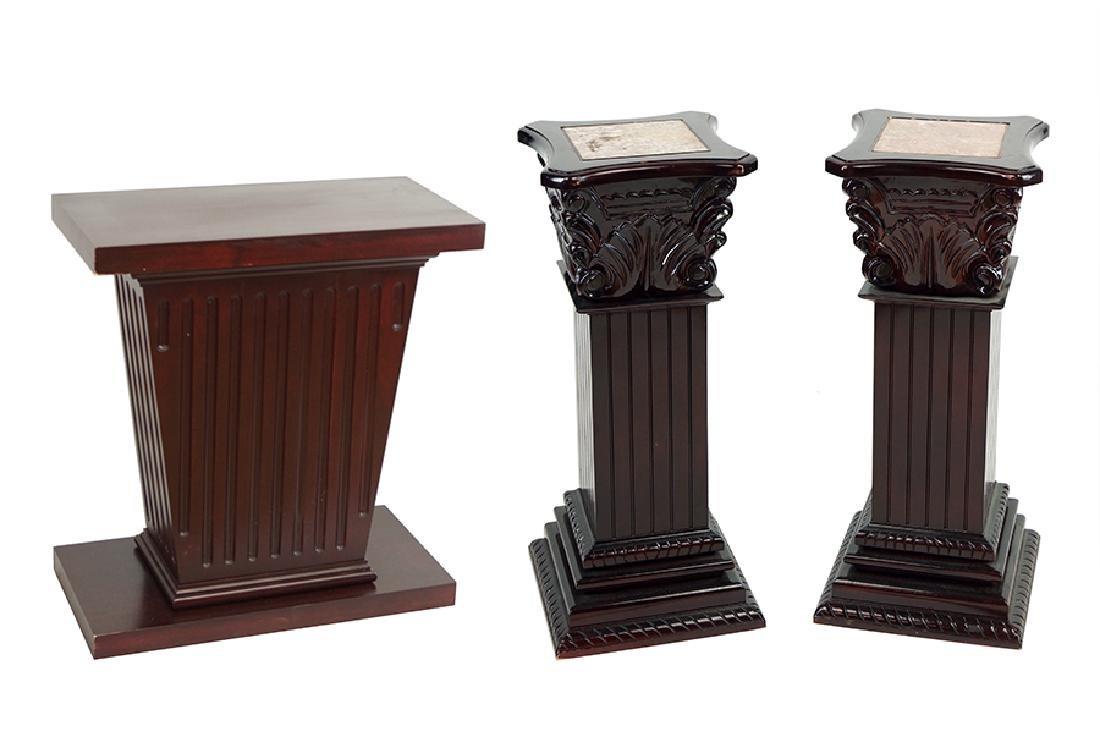 A Pair Of Wood Pedestals.