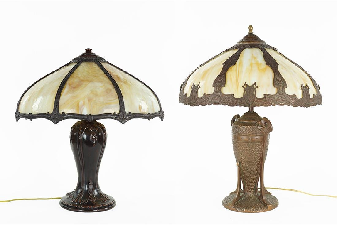 Two Slag Glass Table Lamps