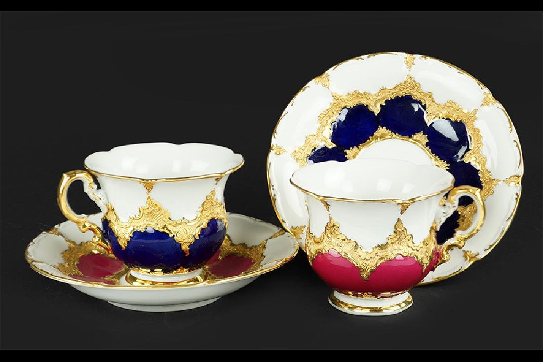 Two Meissen Porcelain Teacups and Saucers.