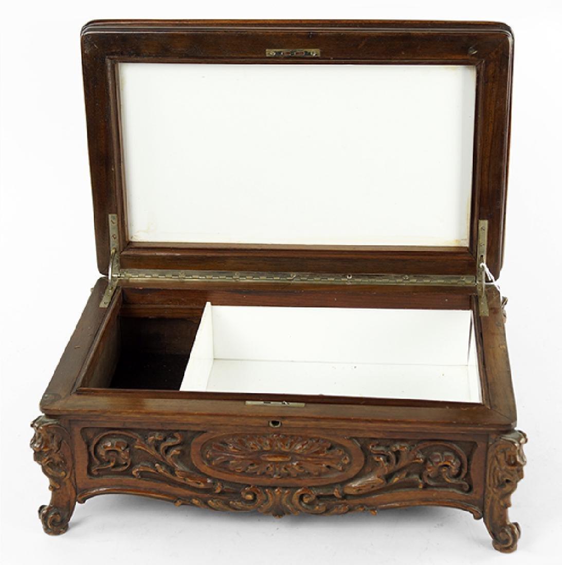 A Carved Wood Cigar Box. - 2