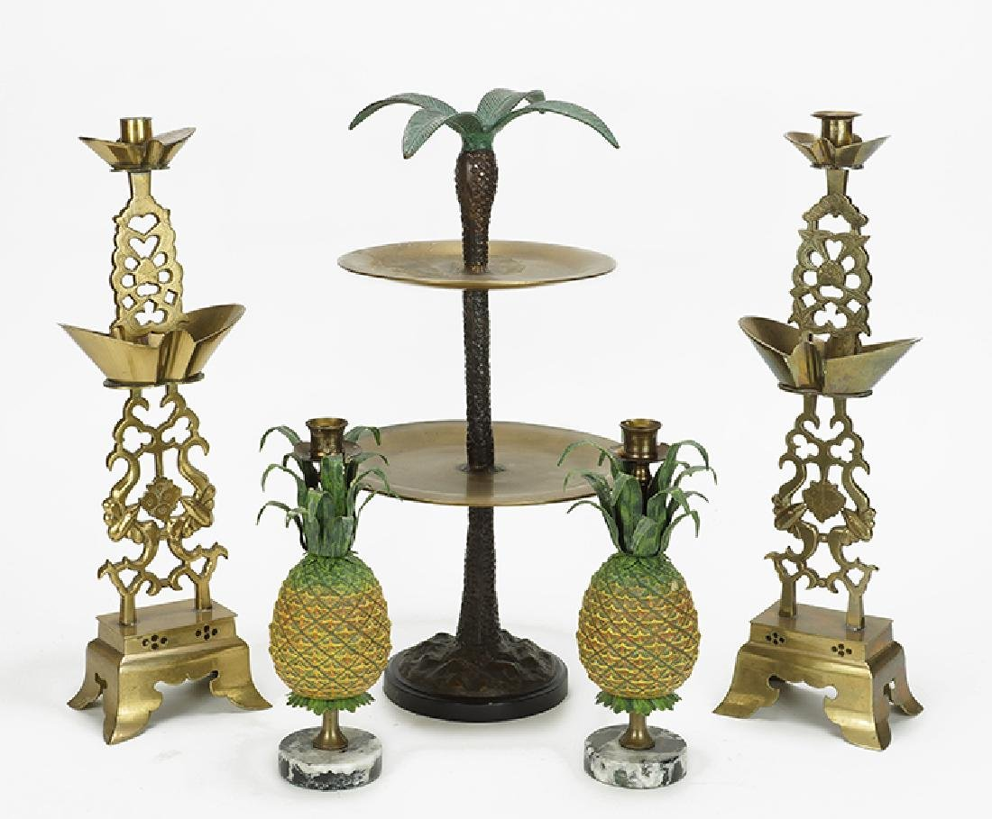 A Pair of Pineapple Form Candlesticks.