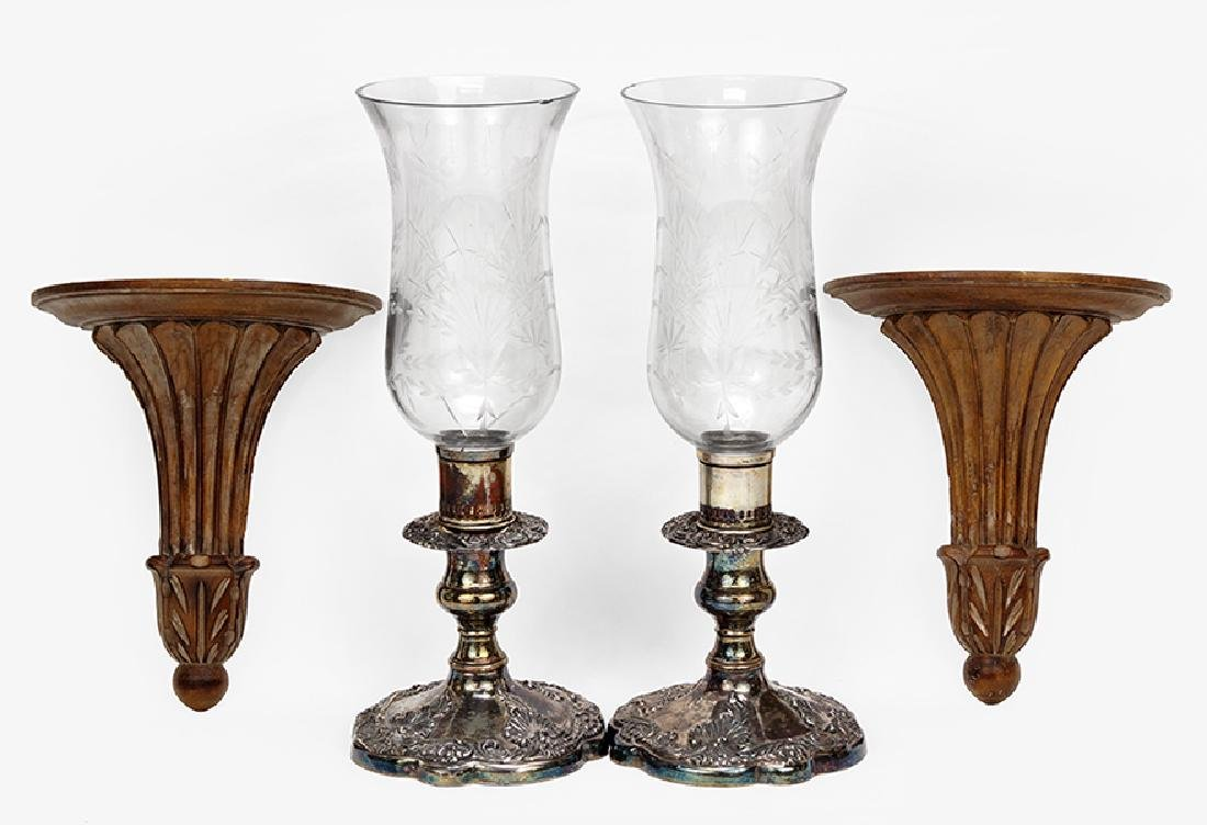 A Pair Of Hurricane Lamps.