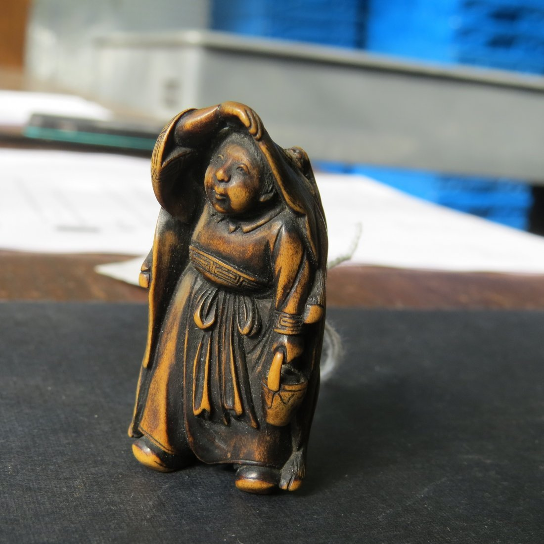 A 19th Century Carved Wood Netsuke. - 2