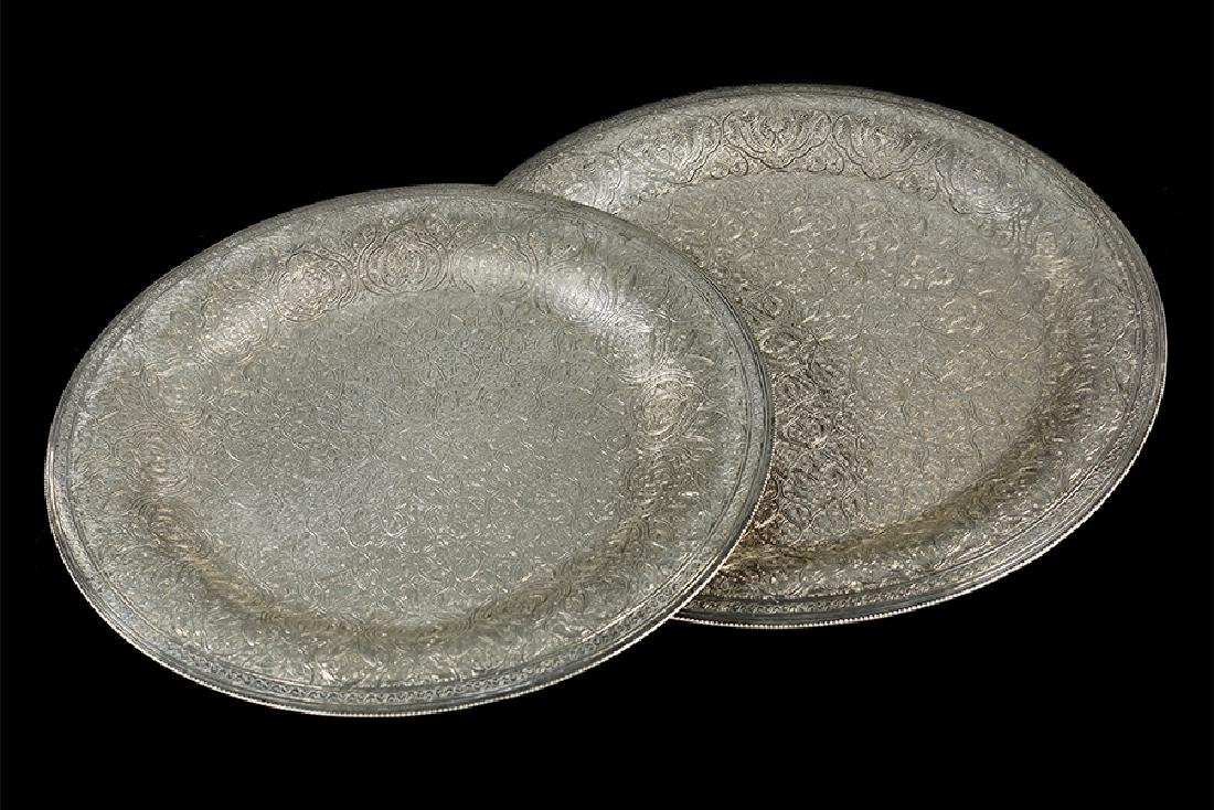 Two Egyptian .900 Silver Trays.