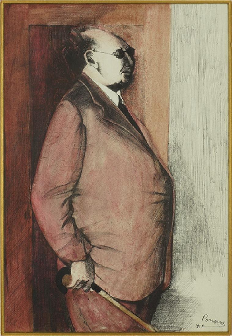 Porroine (20th Century) Man with a Cane.