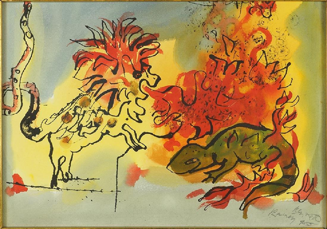 Rainey Bennett (American, 1907-1998) Lion and Lizard.