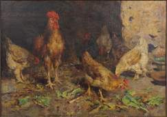 Artist Unknown Late 19thEarly 20th Century Roosters