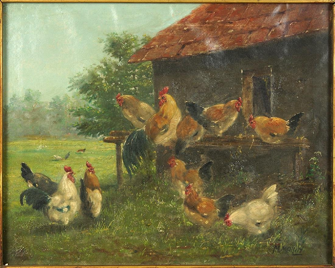 M. Mailin (Continental, 19th-20th Century) Chickens.