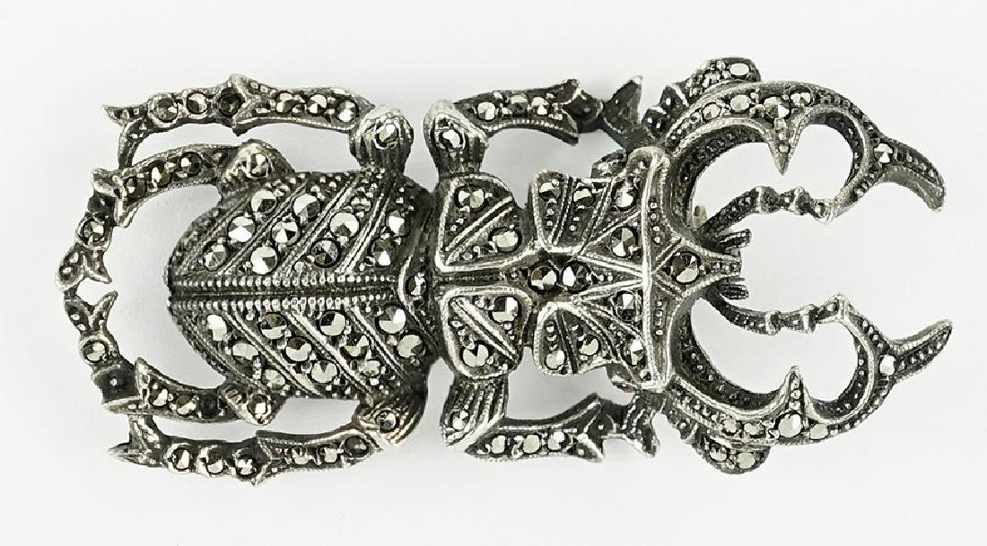 A Marcasite and Sterling Silver Stage Beetle Brooch.