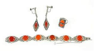 A German Carnelian Marcasite And Sterling Silver