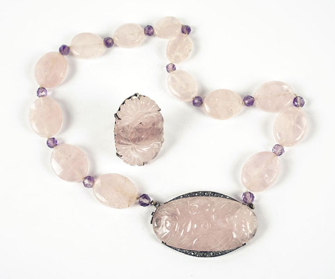A German Amethyst, Rose Quartz, Marcasite, And Sterling