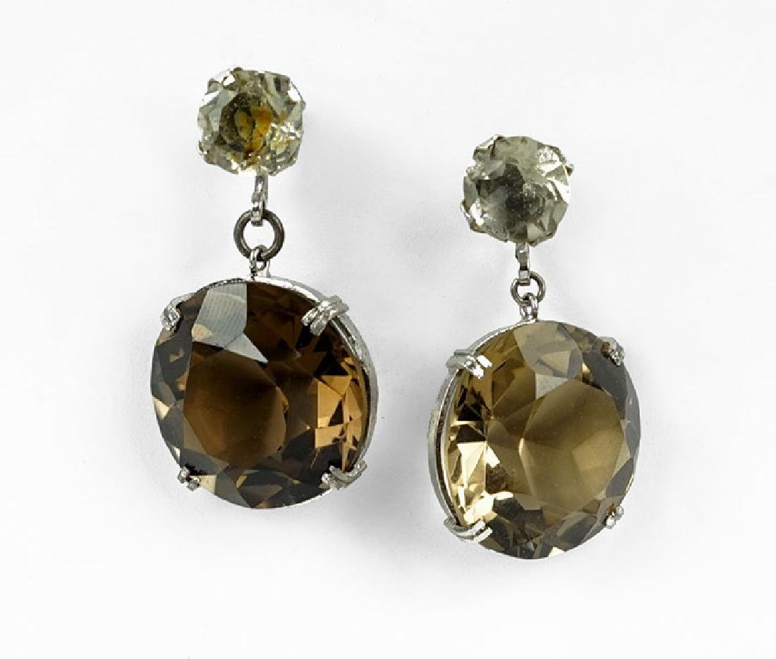 A Pair Of Smoky Quartz And Silver Drop Earrings.