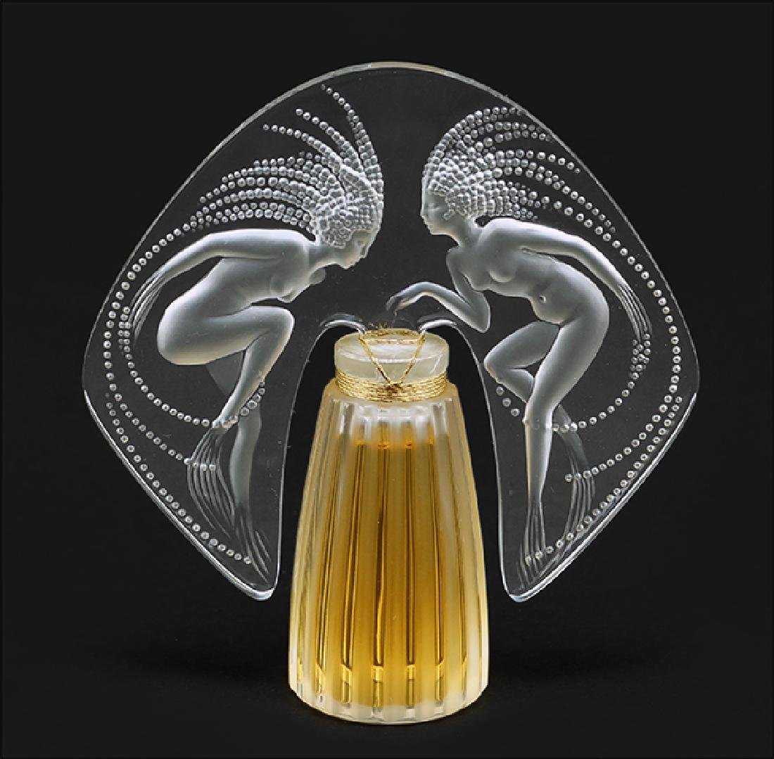 A Lalique Frosted and Clear Crystal 'Ondines' Perfume